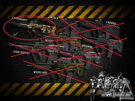 Tavor Tar-21 Camodesert pour GTA San Andreas quatrième écran