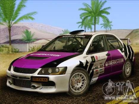 Mitsubishi Lancer Evolution IX Rally für GTA San Andreas obere Ansicht