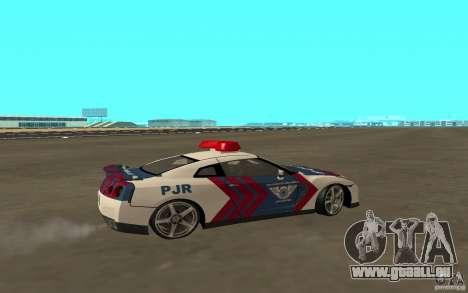 Nissan GT-R R35 Indonesia Police für GTA San Andreas zurück linke Ansicht