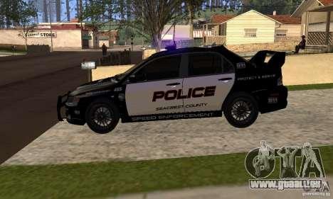 Mitsubishi Lancer Evo VIII MR Police für GTA San Andreas rechten Ansicht