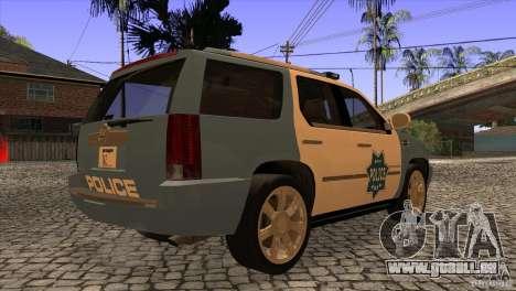 Cadillac Escalade 2007 Cop Car für GTA San Andreas rechten Ansicht