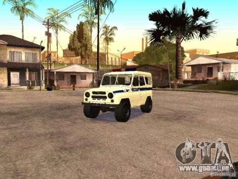 UAZ-Polizei für GTA San Andreas Rückansicht