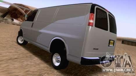 Chevrolet Savana 3500 Cargo Van für GTA San Andreas zurück linke Ansicht
