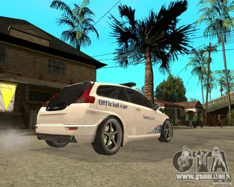VOLVO C30 SAFETY CAR STCC v2.0 für GTA San Andreas zurück linke Ansicht