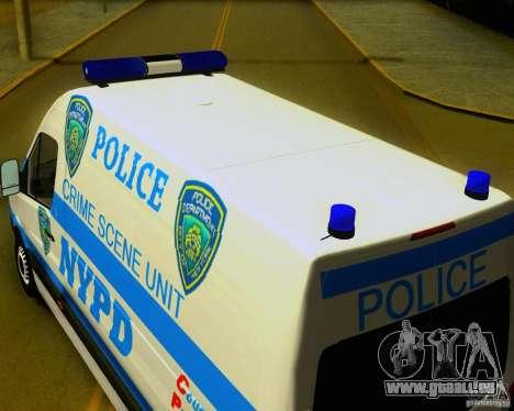 Mercedes Benz Sprinter NYPD police pour GTA San Andreas vue de droite
