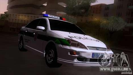 Ford Focus Policija für GTA San Andreas zurück linke Ansicht