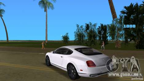 Bentley Continental Supersport für GTA Vice City zurück linke Ansicht