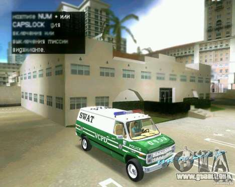 Chevrolet Van G20 pour GTA Vice City vue arrière