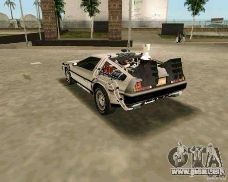 BTTF DeLorean DMC 12 pour GTA Vice City vue arrière