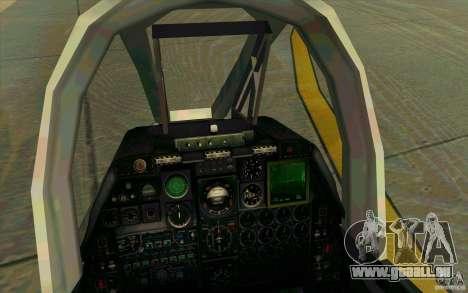 A-10 Warthog für GTA San Andreas Innenansicht