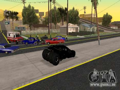 Tumbler Batmobile 2.0 pour GTA San Andreas vue de dessus