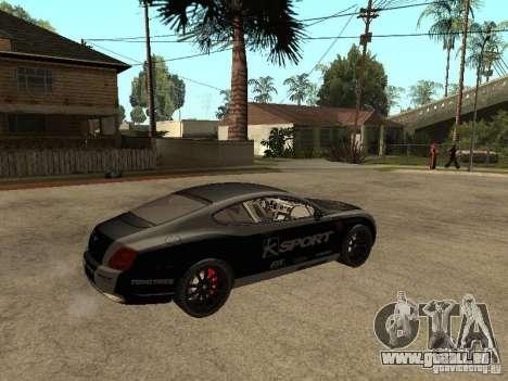 Bentley Continental SS Skin 4 pour GTA San Andreas sur la vue arrière gauche