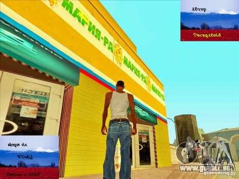 Magasins russes derrière la maison de CJ pour GTA San Andreas troisième écran