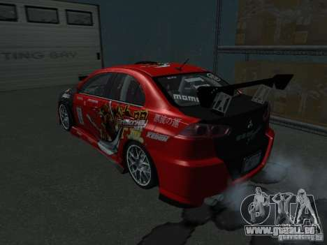 Mitsubishi Evolution X Stock-Tunable pour GTA San Andreas vue intérieure