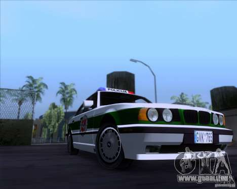 BMW E34 Policija für GTA San Andreas zurück linke Ansicht