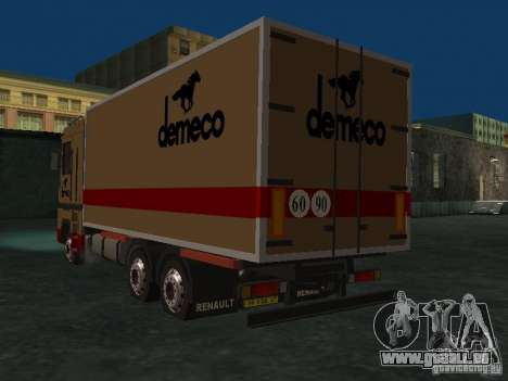 Renault Magnum Demeco pour GTA San Andreas sur la vue arrière gauche