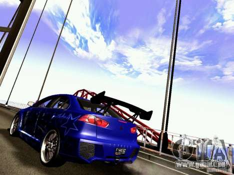 Mitsubishi Lancer EVO X Juiced2 HIN für GTA San Andreas zurück linke Ansicht