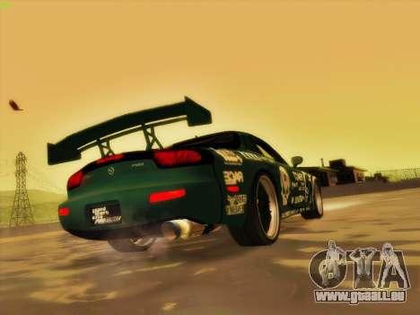 Mazda RX7 rEACT pour GTA San Andreas vue de dessous
