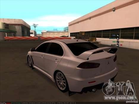 Mitsubishi Lancer Evolution X pour GTA San Andreas sur la vue arrière gauche