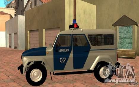 Bobik UAZ-3159 Police c. 2 pour GTA San Andreas laissé vue