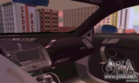 Audi R8 V10 5.2. FSI pour GTA San Andreas vue intérieure