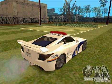 Lexus LF-A China Police pour GTA San Andreas sur la vue arrière gauche