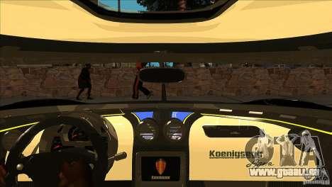 Koenigsegg Agera 2010 pour GTA San Andreas salon