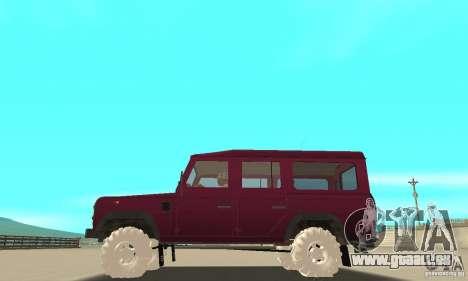 Land Rover Defender 110SW pour GTA San Andreas vue de dessus