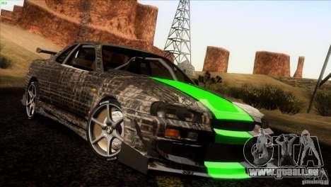 Nissan Skyline R34 Drift pour GTA San Andreas vue de dessus