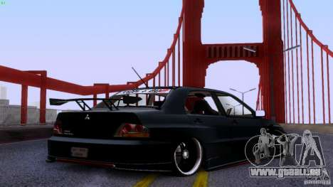 Mitsubishi Lancer Evolution 8 Drift pour GTA San Andreas sur la vue arrière gauche