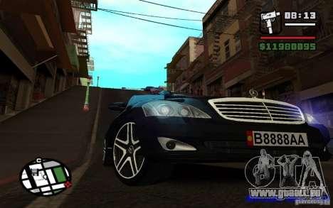 Mercedes - Benz S420 (W221) pour GTA San Andreas sur la vue arrière gauche