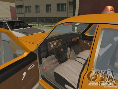 Taxi de Volga GAZ 24-10 pour GTA San Andreas vue intérieure