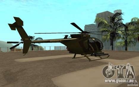 AH 6 pour GTA San Andreas sur la vue arrière gauche