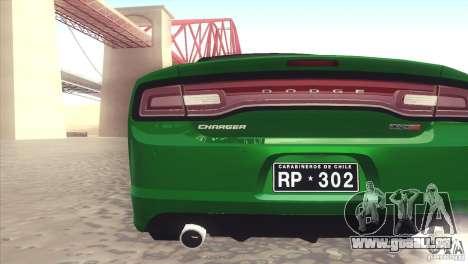Dodge Charger SRT8 Carabineros pour GTA San Andreas vue de droite