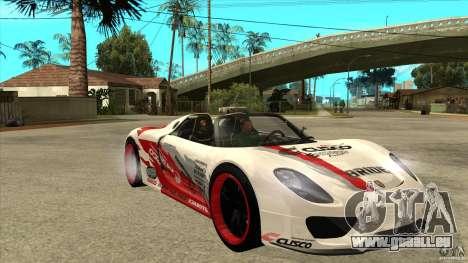 Porsche 918 Spyder Consept für GTA San Andreas Rückansicht