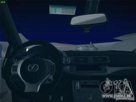 Lexus CT200H 2012 pour GTA San Andreas vue de dessous
