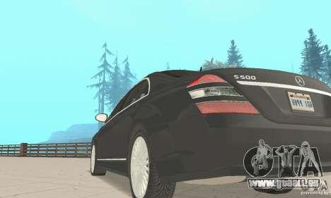 Mercedes-Benz S500 (w221) 2006 pour GTA San Andreas vue arrière