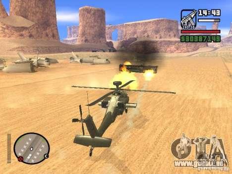 AH-64D Longbow Apache pour GTA San Andreas vue de dessous