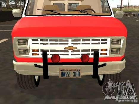 Chevrolet Van G20 LAFD pour GTA San Andreas laissé vue