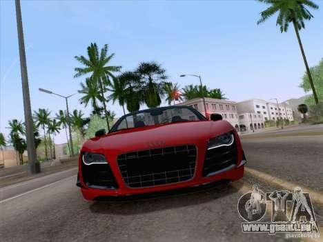 Audi R8 GT Spyder für GTA San Andreas zurück linke Ansicht