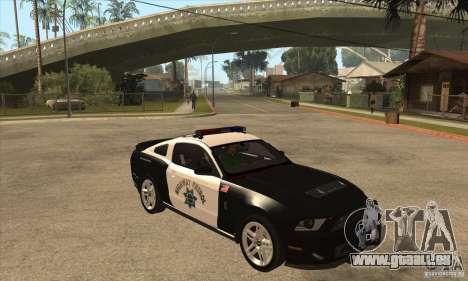 Shelby GT500 2010 Police pour GTA San Andreas vue intérieure