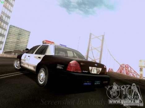 Ford Crown Victoria Los Angeles Police pour GTA San Andreas sur la vue arrière gauche