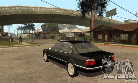 BMW E38 750IL pour GTA San Andreas sur la vue arrière gauche