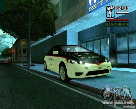 Honda Civic 2006 Coupe 1.1 pour GTA San Andreas sur la vue arrière gauche