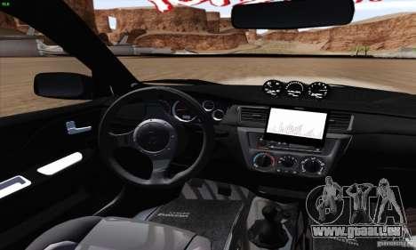 Mitsubishi Lancer EVO VIII BlackDevil pour GTA San Andreas vue intérieure