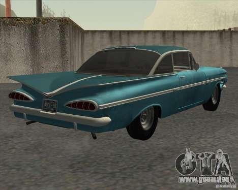 Chevrolet Impala Coupe 1959 Used pour GTA San Andreas sur la vue arrière gauche