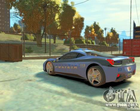 Ferrari 458 Italia Police pour GTA 4 Vue arrière de la gauche