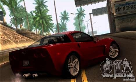 Chevrolet Corvette Z06 pour GTA San Andreas laissé vue