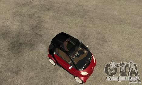 Smart pour GTA San Andreas vue arrière
