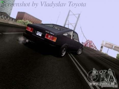 Toyota Corolla TE71 Coupe für GTA San Andreas zurück linke Ansicht